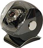 ウォッチワインダー 1本用 ワインディングマシーン 腕時計 自動巻き上げ機 マイクロスイッチ付 カーボン柄 【画像の腕時計はイメージ用で品物に含まれません】