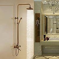 バスルーム高級デュアルハンドルwithハンドシャワーミキサータップ壁掛け式Rainfallシャワー蛇口United。アンティーク真鍮y47847