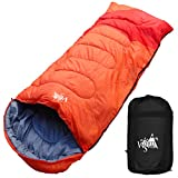 丸洗いのできる寝袋 ワイドサイズ 封筒型 最低使用温度 -5℃ コンパクト収納袋付き シュラフ 寝袋 オールシーズン (オレンジ)