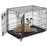 Dog Crate 1536DDU | Midwest ICrate 36 Inches Double Door Folding Metal Dog Crate w/Divider Panel, Floor Protecting Feet & Leak Proof Dog Tray | Intermediate Dog Breed, Black