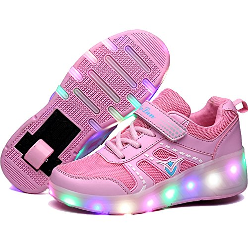1afc6d8841f66  STYLISH  ローラーシューズ ワンタッチ 光る靴 ローラースニーカー LEDスニーカー マジックテープ スポーツ 運動靴 ジュニア 男の子  女の子 発光シューズ (20cm.