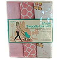 Lollypop Muslin Swaddle Blankets 100% Cotton (Light Pink Giraffe) by Lollypop