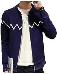 Fly Year-JP 男性のファッションロングスリーブ柄ジッパースリムフィット薄いジャケットコート