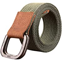 Inlefen Men women retro double ring canvas belt double ring buckle extended