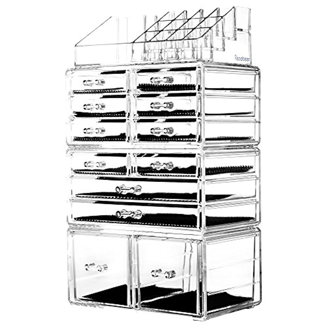 シール緊張資料(Clear) - Readaeer Makeup Cosmetic Organiser Storage Drawers Display Boxes Case with 12 Drawers(Clear)