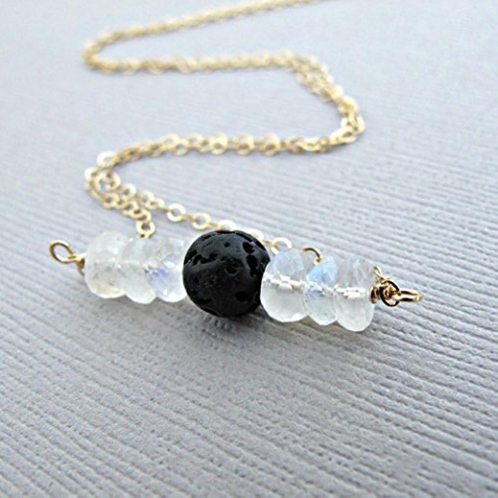 より多いコンサート書くRainbow Moonstone Lava Pendant Essential Oil Necklace Diffuser Aromatherapy - Simple Minimalist Lava Bead Diffuser...