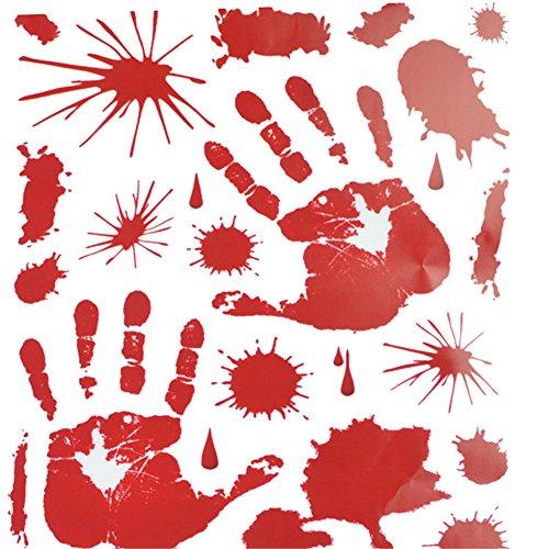 ハロウイン ウォールステッカー 血 ゾンビ 手形 足 ホラー 壁紙シール 怖い のり付き 取り外し kootk 手形 2枚