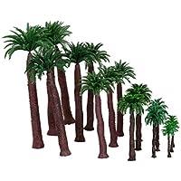 【ノーブランド品】鉄道模型 箱庭用 プラスチック製 ストラクチャー 鉄道 風景 椰子の木 4.5‐17cm 6サイズミックス 18本