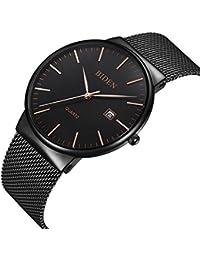 腕時計、メンズ腕時計 超薄型クラシックシンプルなブラックステンレスファッションカジュアル腕時計男女兼用カレンダー防水ミラノ時計