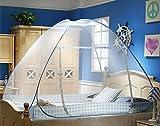 Govine 幅120cm ワンタッチ式蚊帳 底生地付き 折り畳み 赤ちゃん 大人 兼用 ムカデ 虫 蚊 対策 モスキートネット 単ドア式 ブルー