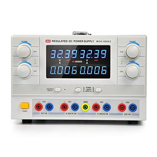 マルチ出力化 直流安定化電源 4CH出力 2CH調整可 0~30V 0~5A 小型 シリーズレギュレータ方式 4桁表示 低ノイズ 直列0~60V 並列0~10A MCH-3205II