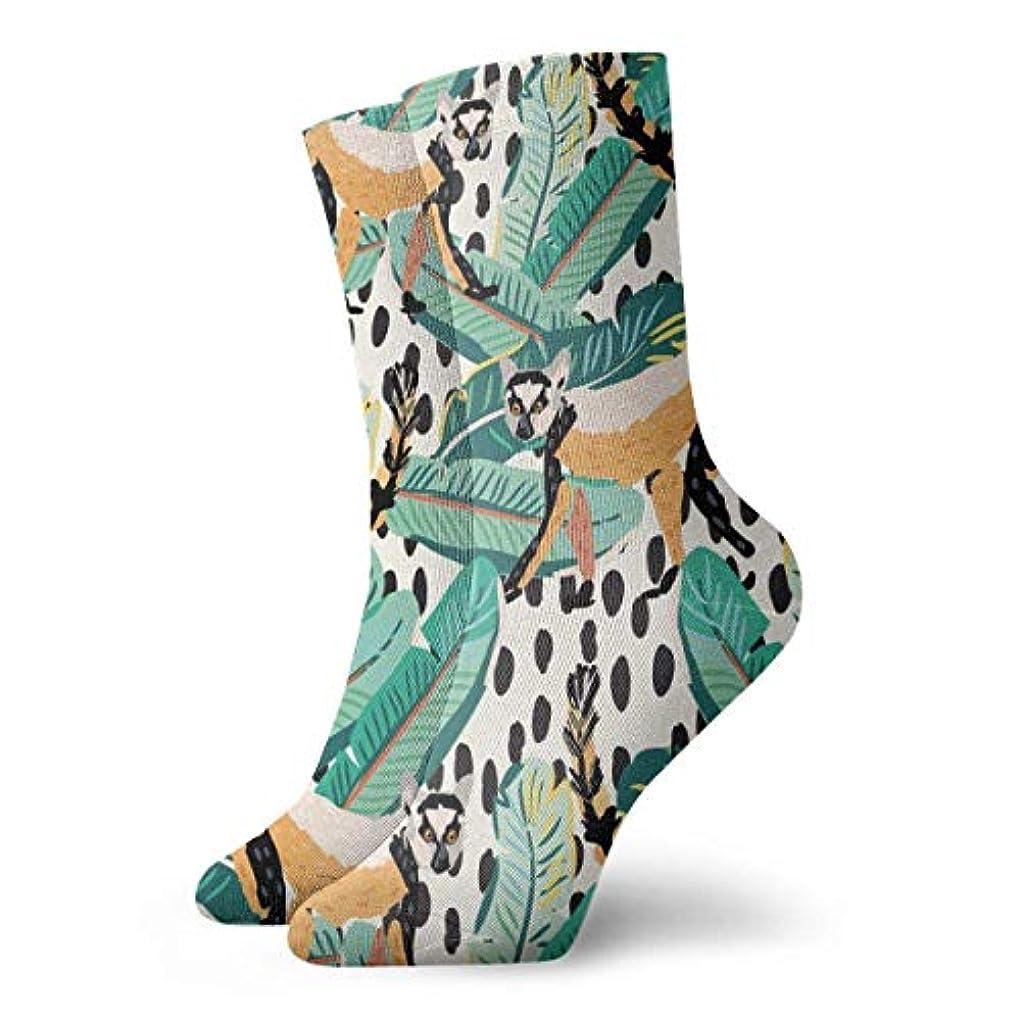 悲観的間に合わせきれいにQrriyの女性のトロピカルリングキツネザルソフトクリスマス膝高ストッキング靴下、クリスマス楽しいカラフルな靴下ソックス
