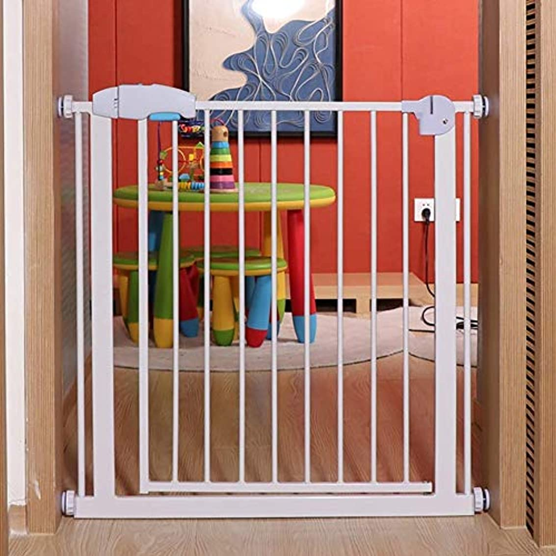 結果神経障害三角ベビーフェンス 階段/ドアのための子供の安全ゲート階段バリアベビーペットゲート拡張可能 ペットゲート