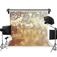 kate 2.2x1.5m 2019年新年の背景布 ゴールドの輝くのテキストの背景 写真スタジオ 花火の背景 写真撮影用の背景幕 綿 装飾用 無反射布 撮影用背景布 背景紙 カスタマイズ可能様々な背景