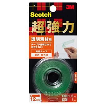 3M スコッチ 超強力両面テープ 透明素材用 12mm×1.5m KTD-12
