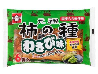 浪花屋製菓 元祖 柿の種 わさび味 6袋入 132g 1ケース(12個入)