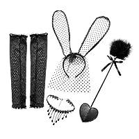 Healifty セクシーなレース猫耳カチューシャスパンキングパドルセクシーな手袋ネックレス襟恋人カップル5ピース