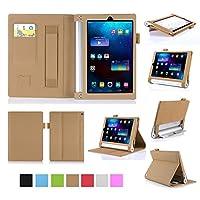 Simple Stylish Lenovo Yoga Tab 3 8 / Yoga Tablet 2 8.0型 レノボジャパン Android タブレット 保護ケース 超薄型 用スマートケース マグネット開閉式 スタンド機能付き 高級PU レザーケース カードスロット付き ・ リストバンド付(ゴールド)