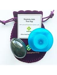ネフライト翡翠卵(ジェイドエッグ)、紐穴あり、ワックス加工のされていないデンタルフロス一箱同梱、品質証明書及びエッグ?エクササイズの使用説明書(英語)付き、パワーストーンとしても好適 (Nephrite Jade Egg...