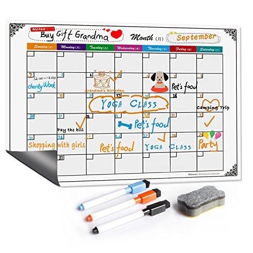 ホワイトボード カレンダー VANZEV マグネットシート 強力 スケジュール表 冷蔵庫 スチール対応 マーカー3...