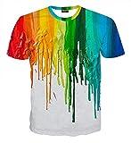 (ピゾフ)Pizoff メンズ Tシャツ 半袖 ホワイト ドロドロ プリント おしゃれ カジュアル 男女兼用 トップス Y1717-1-XXL
