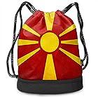 ジムサック マケドニアの旗の旧ユーゴスラビア共和国 ナップサック 巾着袋 バックパック 超軽量 バッグ 男女兼用 大容量 Black One Size