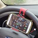 ブラック/レッド 携帯電話ホルダー マウントクリップ バックル ソケット ハンズフリー 車のステアリングホイール シトロエン DS3用
