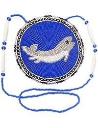La Vivia Sweetブルーホワイトネイティブ魚CraftedデザインシードビーズMedallionネックレスn-6-sb-196