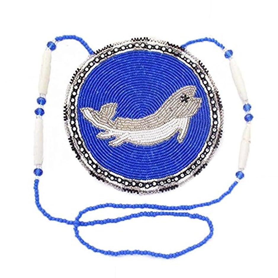尊敬する会話最初はLa Vivia Sweetブルーホワイトネイティブ魚CraftedデザインシードビーズMedallionネックレスn-6-sb-196