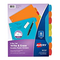 Avery Bigタブ書き込み&消去耐久性プラスチックディバイダー、8マルチカラータブ、1セット( 16130)