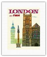 英国ロンドン - TWA (トランス・ワールド航空)で飛ぶ - ウェストミンスター寺院、教会 - ビンテージな航空会社のポスター によって作成された デイヴィッド・クライン c.1960s - キャンバスアート - 28cm x 36cm キャンバスアート(ロール)