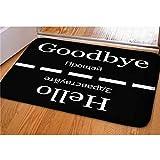 Dellukee Welcome Large Doormats Hello Goodbye Pattern Indoor Outdoor Funny Non Slip Durable Washable Home Decorative Door Mat