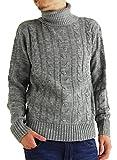 (アーケード) ARCADE メンズ ニット セーター タートルネック ケーブル編み ニットセーター 秋 冬 L グレー
