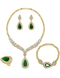 MOOCHI Women's AA Cubic Zirconia Gold Plated Alloy Necklace Jewelry Set Fashion Prom Bridal