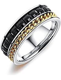 Rockyu ジュエリー ブランド 人気 リング レディースゴールド ステンレス 指輪 黒 14号 チェーン ジルコニア