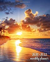 2020-2022 Monthly Planner: Inspirational Sunrise 3 Year Planner Organizer with 36 Months Spread View Calendar | Three Year Monthly Schedule Agenda and Business Notebook | Pretty Palm Trees & Tropical Beach