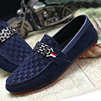 Leather Men Loafers Shoes Breathable Fashion Casual Slip-on Flats Man Driving Shoes Soft Moccasins(Blue,43)
