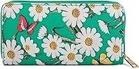 styleBREAKER花、花と蝶のパターンを持つ財布、ジップ、財布、女性02040106、カラー:グリーン