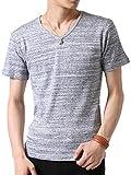 (アーケード) ARCADE Vネック カットソー Tシャツ メンズ 半袖T 杢調ボーダー 半袖Tシャツ M 【半袖】ネイビー