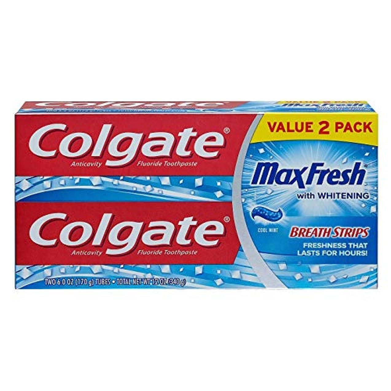 穏やかななしで絶えずColgate MaxFreshフッ化物歯磨き粉の6オンス、ツインパック、クールミント2 EA(2パック)