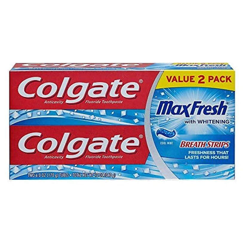 反動不測の事態吸収するColgate MaxFreshフッ化物歯磨き粉の6オンス、ツインパック、クールミント2 EA(2パック)