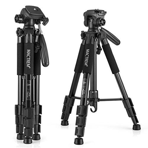 三脚 カメラ三脚 コンパクト三脚 Mactrem PT55 レバー式 4段 小型 軽量 3Way雲台 水準器 クイックシュー付き アルミ製 旅行 ビデオ三脚
