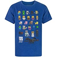 Vanilla Underground Minecraft Sprites Boys Blue T-Shirt, Blue, 11-12 Years