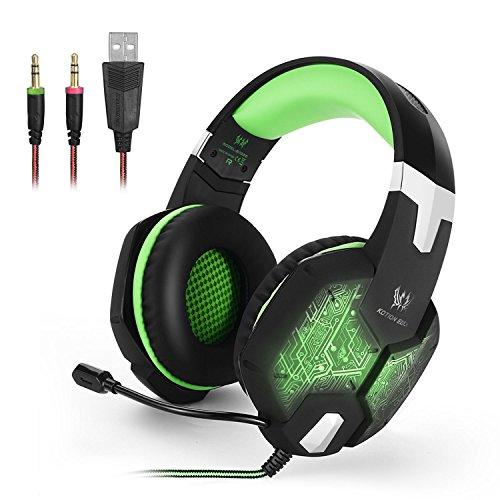 KOTION EACH ゲーミングヘッドセット マイク付 PS4ゲームヘッドホン 調節可 重低音 騒音隔離 PCパソコン 緑