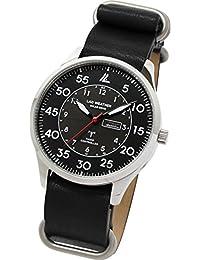 [LAD WEATHER]メンズ腕時計 薄型 ソーラー電波時計 ミリタリー時計 蓄光針 本革 lad046