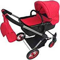 Modern Bassinet Doll Stroller -SUPERIOR QUALITY Red Quilted Fabric- NEW LUXURY COLLECTION -FREE Diaper Bag - EXTRA TALL [並行輸入品]