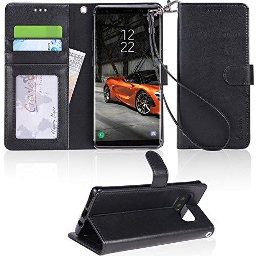 「Arae」 Samsung Galaxy Note8 ケース 手帳型 おしゃれ スタンド 財布型 ストラップ 衝撃吸収 マグネット カード 落下防止 全面保護 人気 ギャラクシー Note 8 カバー おすすめ ケース (Note 8, ブラック)