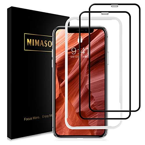 【ガイド枠付き】 【2枚セット】 Nimaso iPhone XR 用 全面...