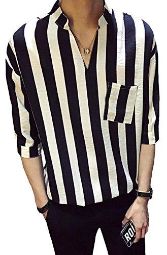 DeBangNi メンズ 半袖シャツ パーカー 薄手 夏 ワイシャツ tシャツ ストライプ 快適 シンプル トップス 上着 ゆったり 五分袖 ファッション カジュアルシャツ オシャレ 高品質黒N4