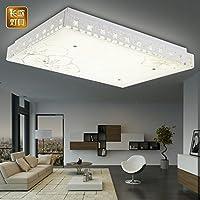 yposion LED天井ライト長方形リモートリビングルームライトミニマリストLEDクリスタルランプライトマスターベッドルームライトHall極性なし、800* 600mm減光